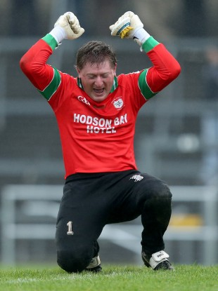 St Brigid's goalkeeper Shane Curran celebrates.
