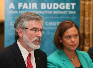Gerry Adams at the launch of Sinn Féin's pre-Budget submission today.