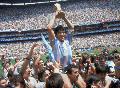 Diego Maradona lifts the World Cup trophy in 1986.
