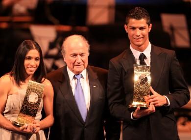 Marta, Sepp Blatter, Cristiano Ronaldo and  Cristiano Ronaldo's hair.