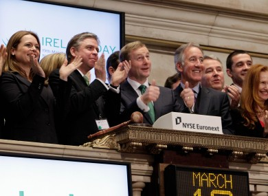 Enda Kenny, signals a thumbs-up as he rings the New York Stock Exchange opening bell last year.