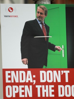 A Youth Defence poster bearing the image of Taoiseach Enda Kenny