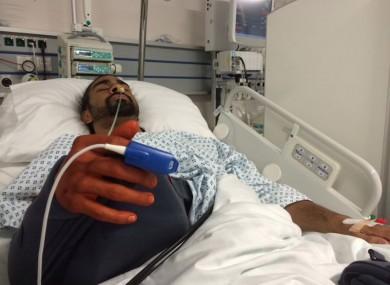 David Haye in hospital following surgery on his shoulder.