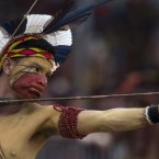 The bow and arrow competition during the indigenous games in Cuiaba.<span class=