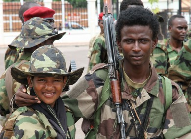 Young soldiers from the Seleka rebel alliance pose for a photo.
