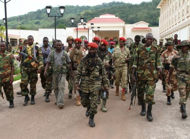 Rebel soldiers from the Seleka alliance in Bangui, Central African Republic.