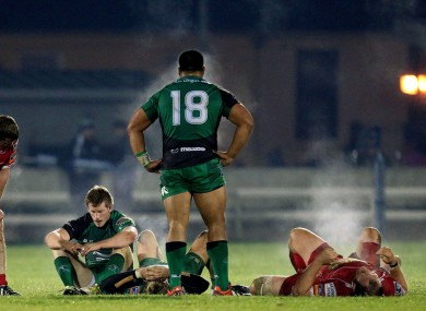 Connacht's Eoin Griffin and Rodney Ah You at the final whistle.