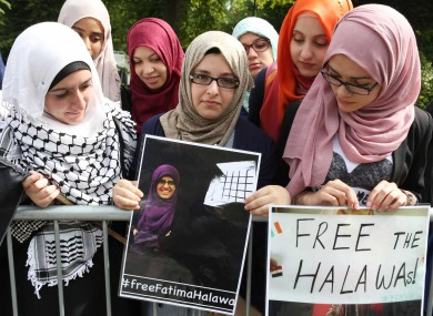 Supporters attend a protest calling for the release of the Halawa siblings outside the Egyptian embassy in August