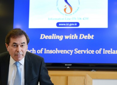 Alan Shatter at the launch of the Insolvency Service Bill in April