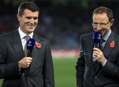 Ireland manager Martin O'Neill and assistant Roy Keane working for ITV tonight in San Sebastián on Tuesday night.