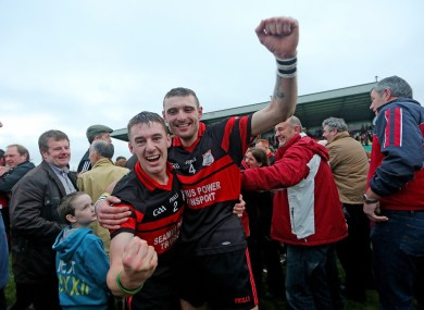 Mount Leinster's Michael Doyle and Gary Kelly celebrate after the game.