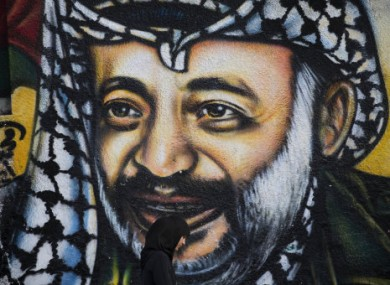 Graffiti depicting late Palestinian leader Yasser Arafat in Gaza City.