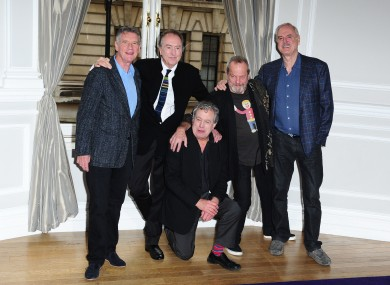 The Monty Python members announce their reunion in London last week.