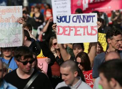 Pro-Choice marchers in Dublin.