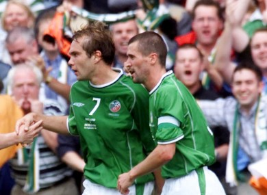 McAteer and Keane celebrate 'that' goal against Holland in 2001.
