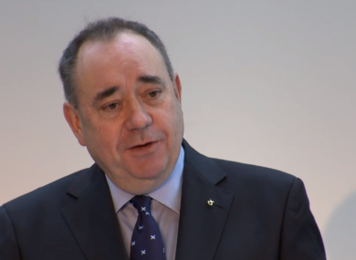 Scottish First Minister Alex Salmond at a press conference today