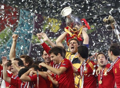 Spain goalkeeper Iker Casillas lifts the trophy after the Euro 2012 final between Spain and Italy.