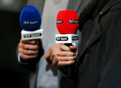 Detail of BT Sport microphones.