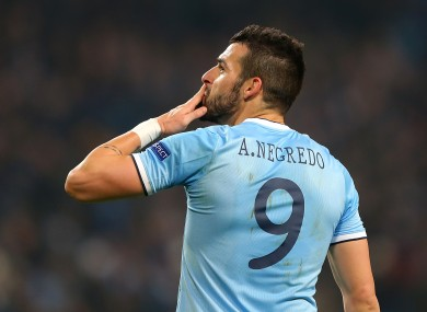 Manchester City's Alvaro Negredo celebrates his hat-trick after the final whistle.