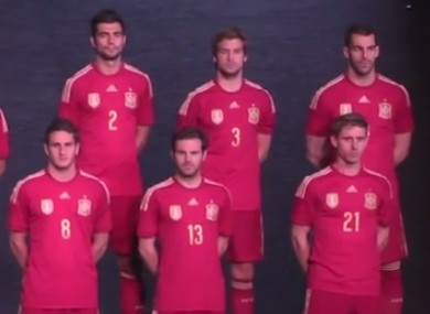The Spanish players at today's unveiling.