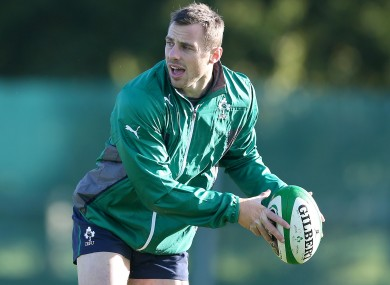 Bowe in action during training at Carton House.