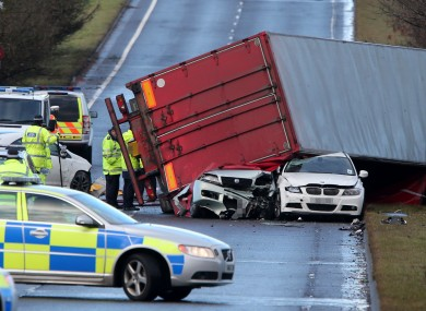 The driver of this HGV died when it overturned in high winds onto other cars on the A801 in West Lothian.