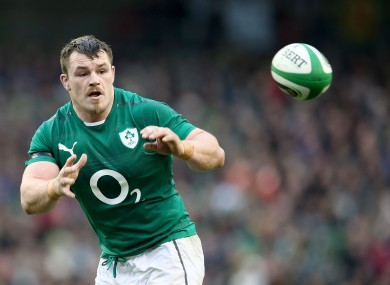 Healy in action for Ireland last month.