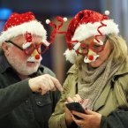 Barry Brown and Barbara Connolly from Wicklow wait for Barbara's son Stephen<span class=