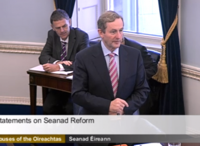 Enda Kenny on his most recent visit to the Seanad (File photo)