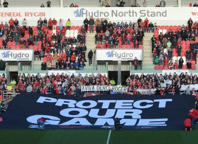 'Protect Our Game' reads a banner at the recent Scarlets v Ospreys clash.