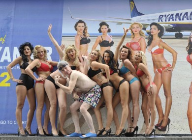 Ryanair CEO Michael O'Leary and Ryanair cabin crew at the launch of last year's calendar.