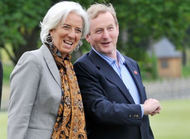Head of the IMF Christine Lagarde with Taoiseach Enda Kenny, pictured at the G8 summit earlier this year.