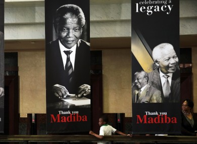 Banners of Nelson Mandela in the South African parliament in Cape Town.