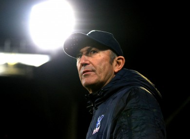 Crystal Palace manager Tony Pulis before the Premier League match at Selhurst Park.
