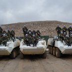 The Number 2, Platoon B, Company 42 Infantry on their UNIFIL tanks in Lebanon.<span class=