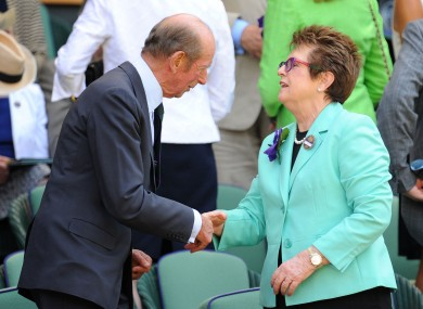 King, pictured here with the Duke of Kent, Prince Edward, at Wimbledon.