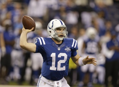 Andrew Luck will hope his offensive line can keep him upright this weekend.
