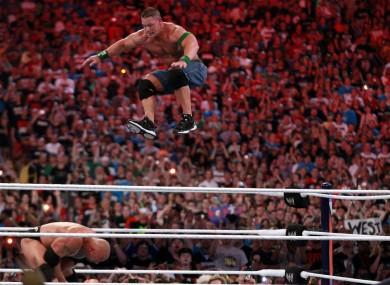Dwyane 'The Rock' Johnson competes against John Cena at WrestleMania XXVIII