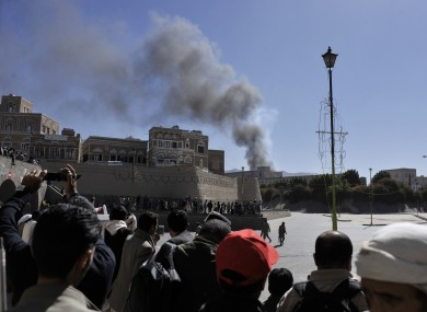 Smoke rises after an explosion at the Defense Ministry complex in Sanaa, Yemen.