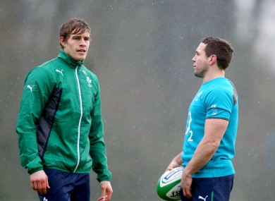 Andrew Trimble (left) chats to Isaac
