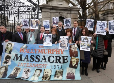 Families of the Ballymurphy Massacre victims outside the Dáil today