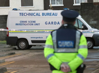 Gardaí at the scene of the incident on Saturday.