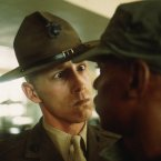 A US Marine drill instructor delivers a severe reprimand to a recruit at Parris Island in 1970. Seventeen thousand Marine recruits are trained every year at Parris Island.<span class=