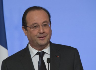 French President Francois Hollande during a New Year speech at the Elysee Palace in Paris.