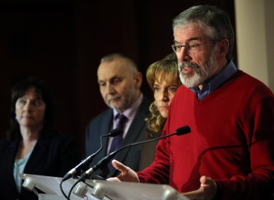 Gerry Adams after the Haass talks failed to secure a deal.