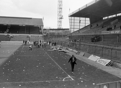 Twisted fencing at Hillsborough in the aftermath of the stadium tragedy.