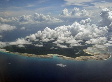 A aerial view of North Sentinel Island, in India's southeastern Andaman and Nicobar Islands