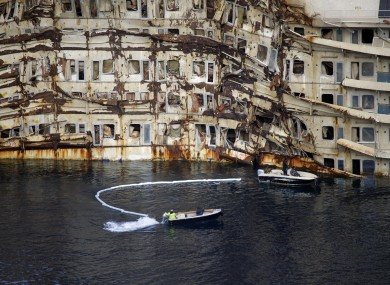 A partial view of the Costa Concordia cruise ship, on the Tuscan Island of Giglio
