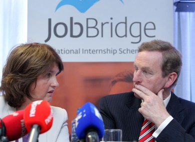 Taoiseach and Fine Gael leader Enda Kenny and the Labour Party Minister for Social Protection Minister Joan Burton launched a report into the Job Bridge Scheme
