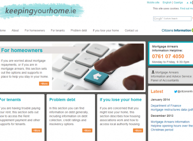 Homepage of keepingyourhome.ie